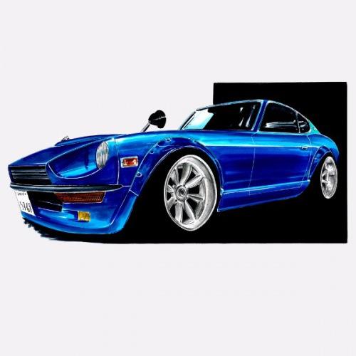 Dámské tričko s potiskem Datsun 240Z modrá