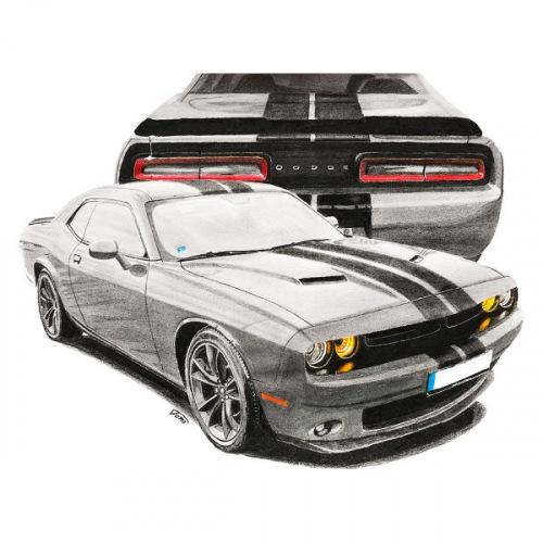 Dámské tričko s potiskem Dodge Challenger: Handdrawn