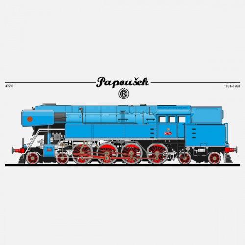 Pánské tričko s potiskem lokomotiva ČKD 477 Papoušek 1