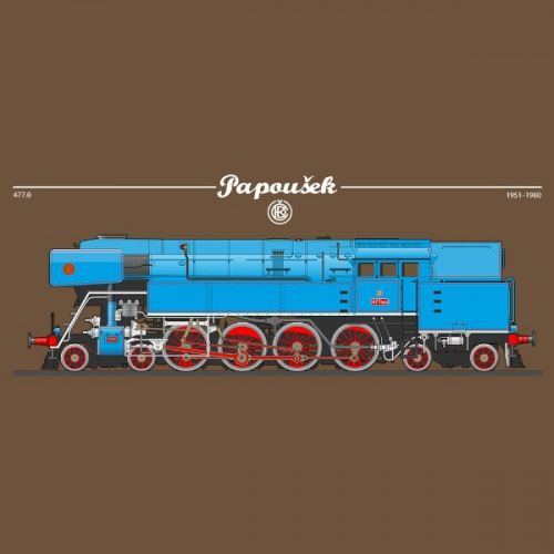 Pánské tričko s potiskem lokomotiva ČKD 477 Papoušek 2