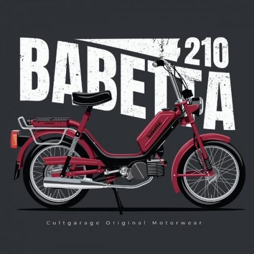 Pánské tričko s potiskem Jawa Babetta 210 vínová 2
