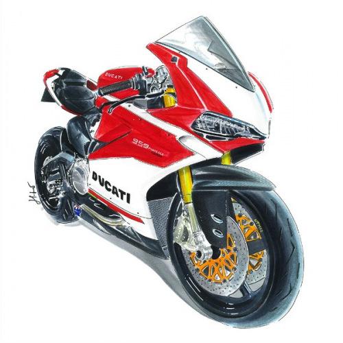 Dámské tričko s potiskem Ducati 959 Panigale: Handdrawn