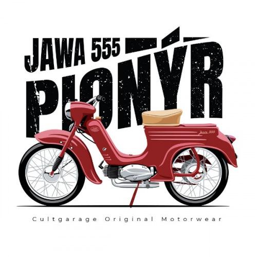 Pánské tričko s potiskem Jawa 50/555 Pionýr 1