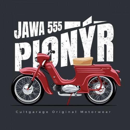 Pánské tričko s potiskem Jawa 50/555 Pionýr 2
