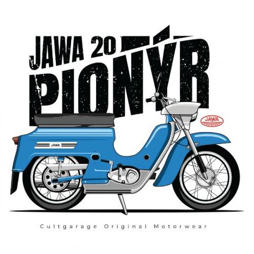 Dámské tričko s potiskem Jawa 50 Pionýr modrý 1
