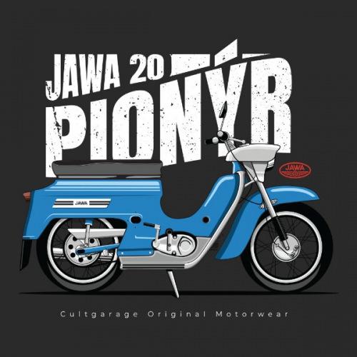 Dámské tričko s potiskem Jawa 50 Pionýr modrý 2