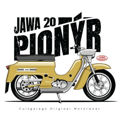 Pánské tričko s potiskem Jawa 50 Pionýr žlutý 1