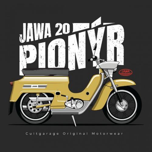 Pánské tričko s potiskem Jawa 50 Pionýr žlutý 2