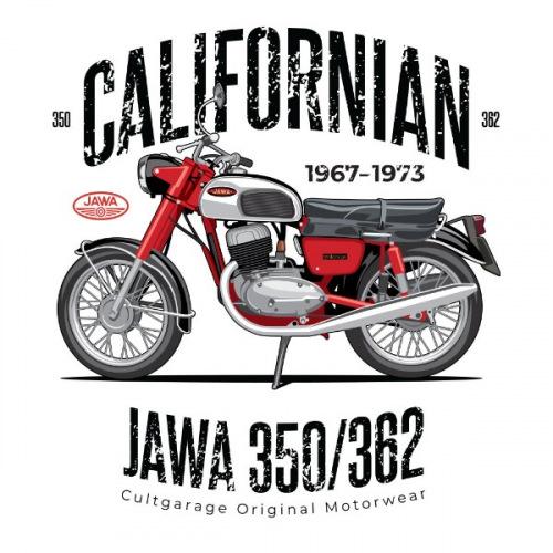 Dámské tričko s potiskem Jawa 350/362 Californian 1