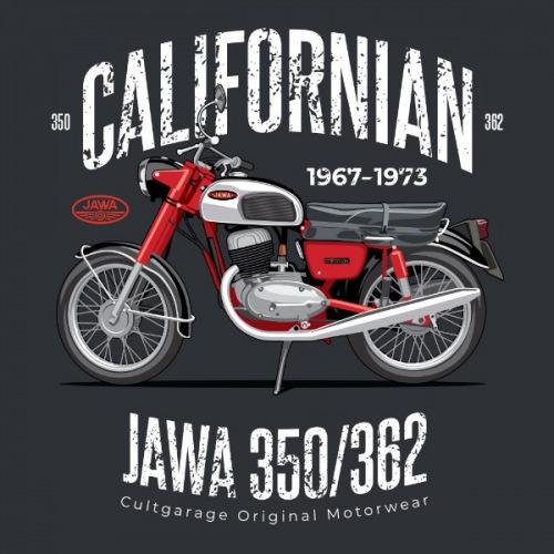 Pánské tričko s potiskem Jawa 350/362 Californian 2