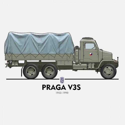 Pánské tričko s potiskem Praga V3S vojenská 1