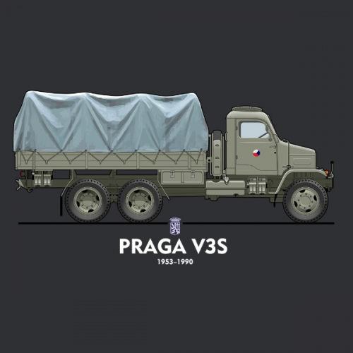 Pánské tričko s potiskem Praga V3S vojenská 2
