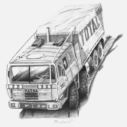 Pánské tričko s potiskem Tatra 815 8x8 Dakar
