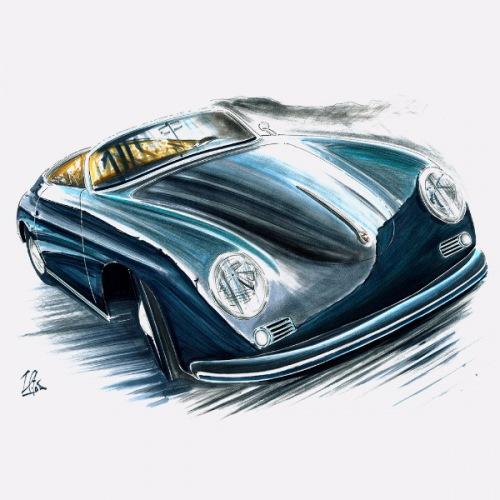 Dámské tričko s potiskem Porsche 356 Speedster