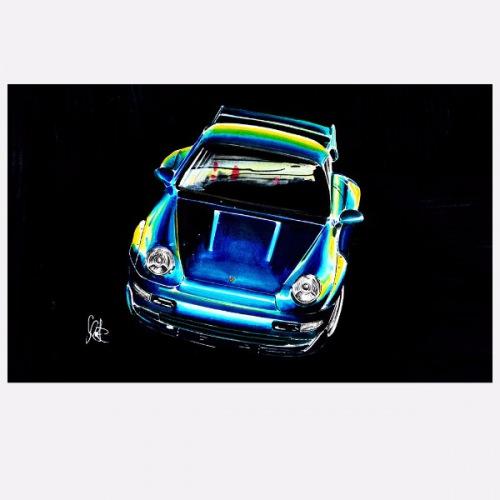 Dámské tričko s potiskem Porsche 993 GT2 modrá