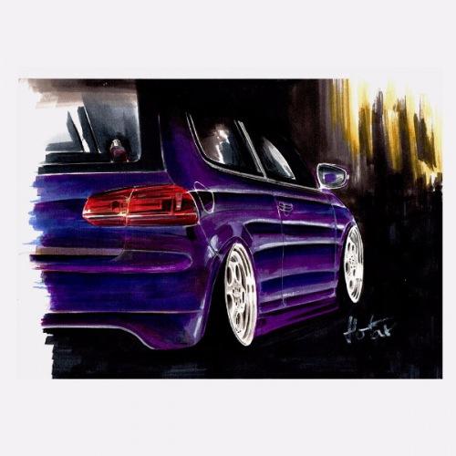 Dámské tričko s potiskem VW Golf 6 GTI fialová
