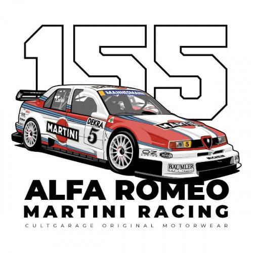 Pánské tričko s potiskem Alfa Romeo 155 V6 TI DTM Martini 1