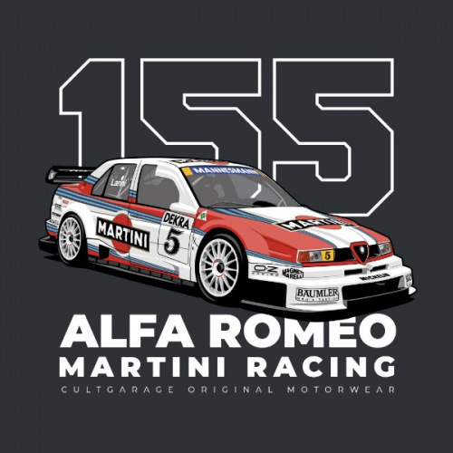 Pánské tričko s potiskem Alfa Romeo 155 V6 TI DTM Martini 2