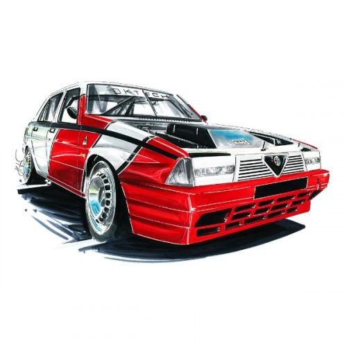 Pánské tričko s potiskem Alfa Romeo 75: Handdrawn