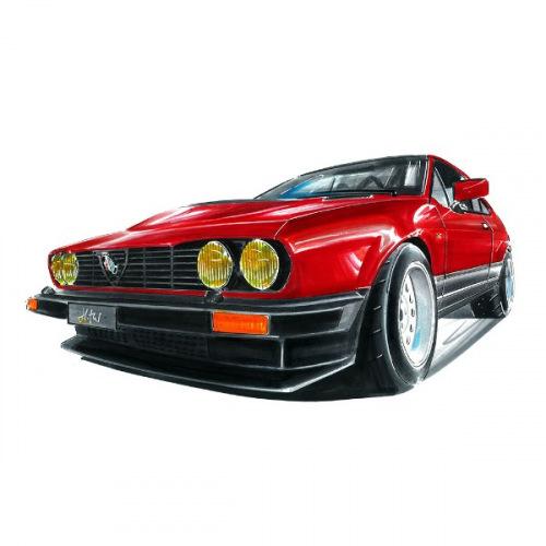 Dámské tričko s potiskem Alfa Romeo GTV 4: Handdrawn