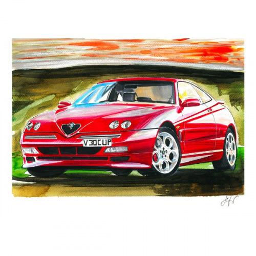 Dámské tričko s potiskem Alfa Romeo GTV Cup: Handdrawn