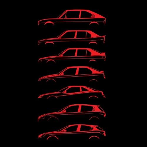 Dámské tričko s potiskem Alfa Romeo Silueta červená 2