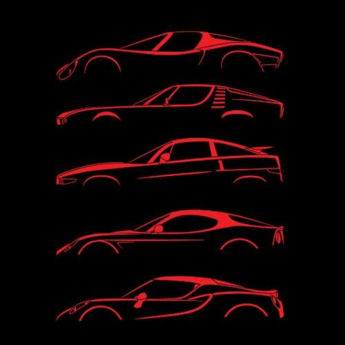 Pánské tričko s potiskem Alfa Romeo Silueta červená 3