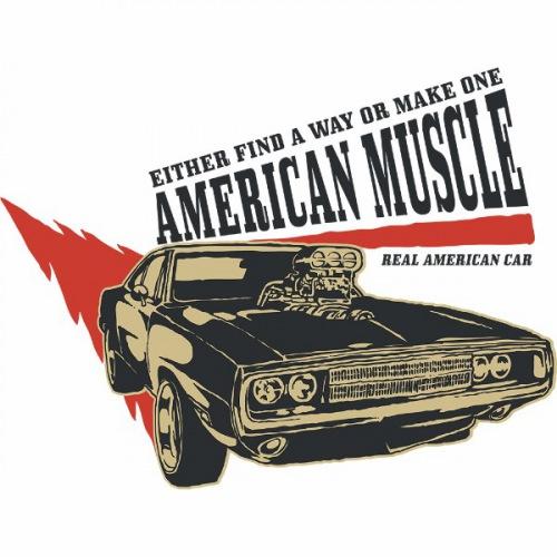 Pánské tričko s potiskem American Muscle 1 Dark