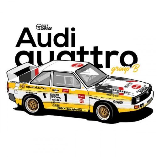 Dámské tričko s potiskem Audi Quattro S1 Group B