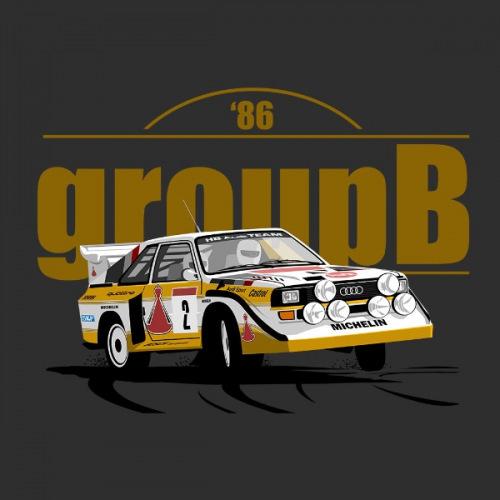 Pánské tričko s potiskem Audi Quattro Group B 86