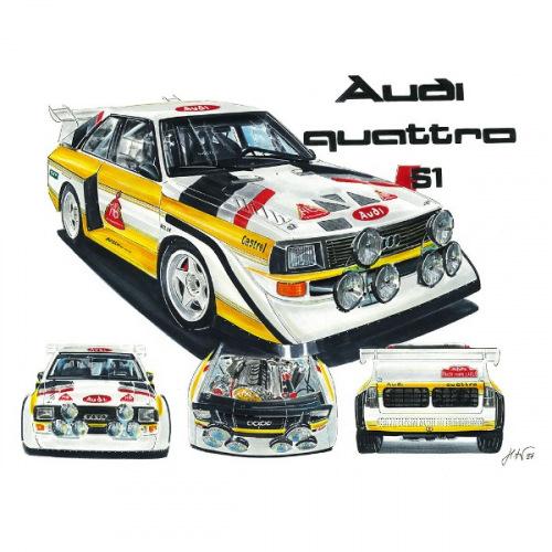 Pánské tričko s potiskem Audi Quattro S1: Handdrawn