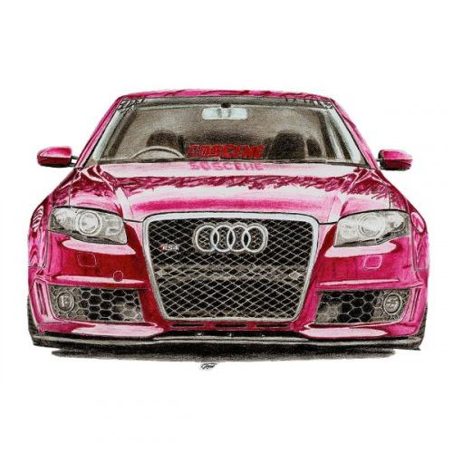 Dámské tričko s potiskem Audi RS4: Handdrawn