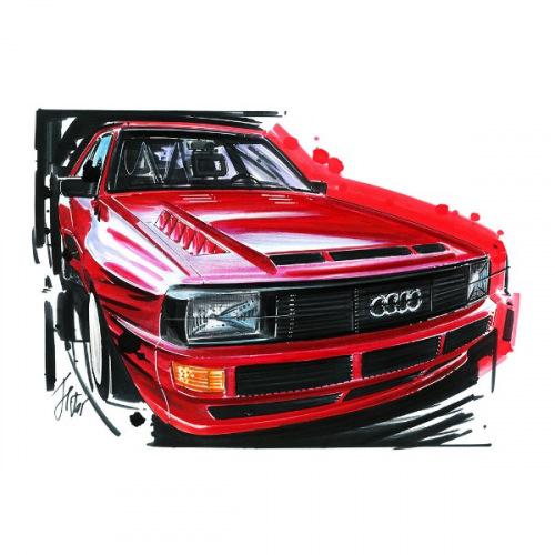 Dámské tričko s potiskem Audi Sport Quattro Red: Handdrawn