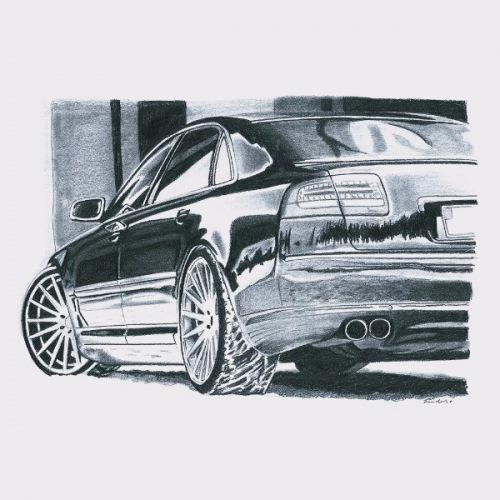 Dámské tričko s potiskem Audi A8: Handdrawn