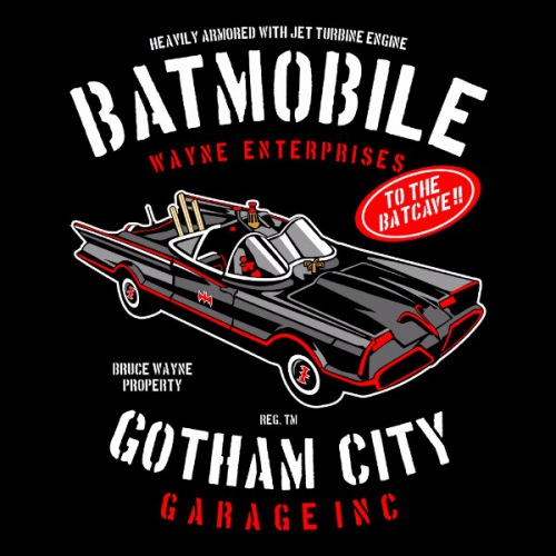 Pánské tričko s potiskem Batmobil  z roku 1966