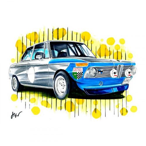 Dámské tričko s potiskem BMW 2002 Rally: Handdrawn