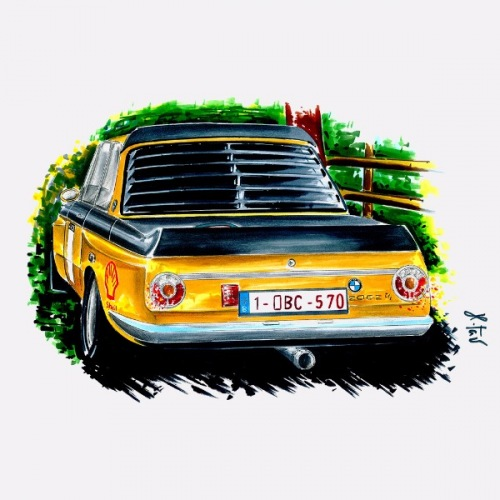 Men´s t-shirt BMW 2002 yellow: Handdrawn