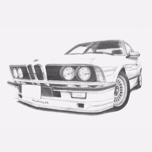 Dámské tričko s potiskem BMW e24 Alpina Handdrawn