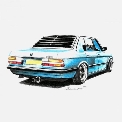 Dámské tričko s potiskem BMW 5 E28 Handdrawn