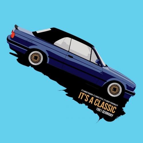Dámské tričko s potiskem BMW e30 Cabrio modré