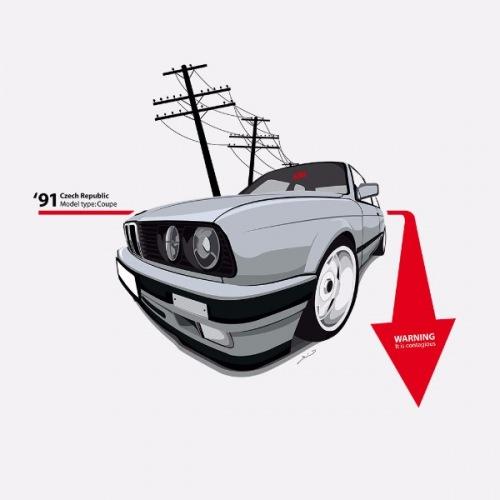 Pánské tričko s potiskem BMW e30 Coupe: Warning