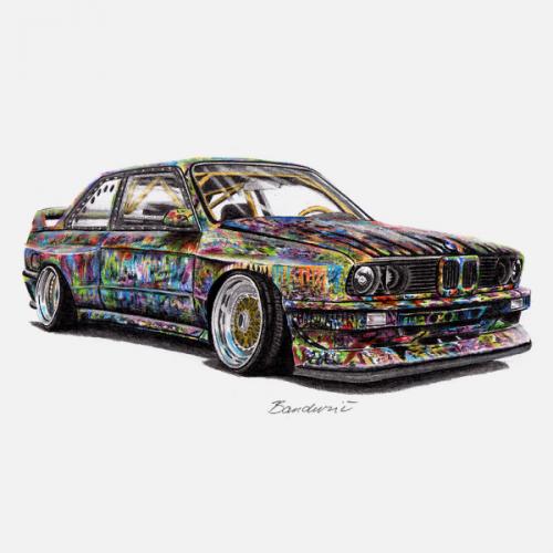 Dámské tričko s potiskem BMW e30 M3 Art
