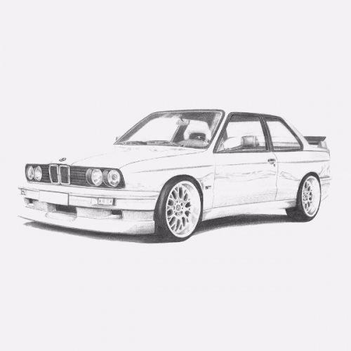 Dámské tričko s potiskem BMW e30 M3 Handdrawn