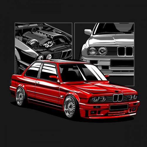 Pánské tričko s potiskem BMW e30 Mtechnic2 + M3