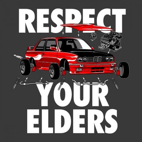 Dámské tričko s potiskem BMW e30 respect your elders