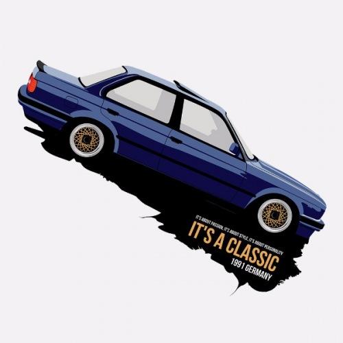 Pánské tričko s potiskem BMW e30 Sedan modrý