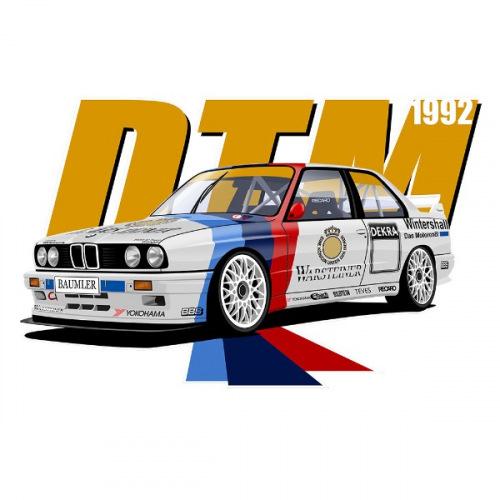 Pánské tričko s potiskem BMW e30 WARSTEINER DTM