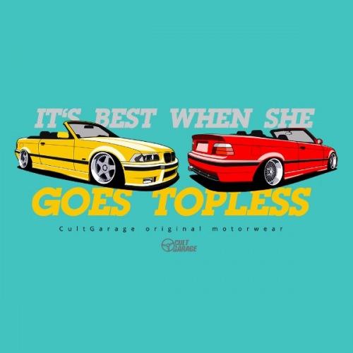 Dámské tričko s potiskem BMW e36 Cabrio žluto/červená