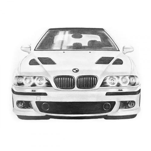 Dámské tričko s potiskem BMW e39 M5 Handdrawn