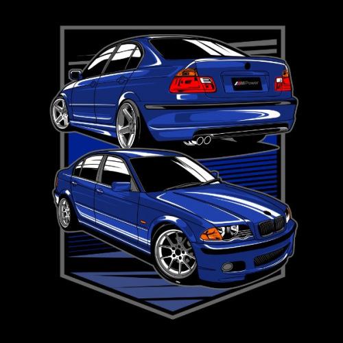 Pánské tričko s potiskem BMW e46 blue